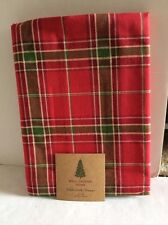 WELL DRESSED HOME CHRISTMAS TABLECLOTH RED GREEN OFF WHITE PLAID 52x70 NEW