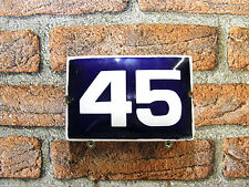 Vintage Sign House Door Number 45,Blue and White Enamel Metal Plate Authentic