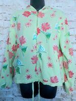 Fresh Produce Floral Zip Up Hooded Sweatshirt Light Jacket Womens M Cotton EUC