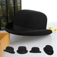 100% Wool Men's Women Black Bowler Hat Gentleman Formal Cap Fedora Hat S M L XL