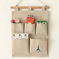 Home Deco Linen 5 Pockets Wall Door Closet Hanging Storage Bag Organizer Hanger