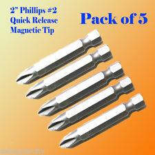 "5x 2"" Phillips #2 Screw Driver Bit Quick Release 1/4 Hex Shank Magnetic Tip PH2"