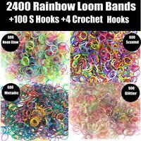 2400 Pcs Large Rainbow Loom Band Kit Bands Board Hooks Glow In The Dark Rubber