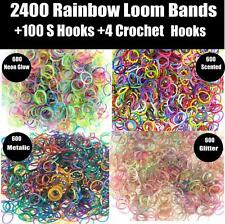 2400 Rainbow Colour Loom Bands Kit Glow In The Dark Rubber Looms Bracelet