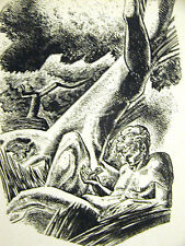 Lynd Ward 1937 NAKED MAN with a FROG in FOREST Vintage Art Deco Print Matted