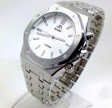 525P Men's Boys Latest Fashion Wrist Watch Silver Band White Analog Dial Quartz