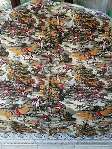 Vintage Bevis curtains.Tarporley horse and hound hunting scene