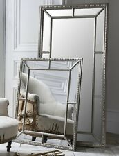 Full Length Mirror Bevelled Antique Silver Beaded Frame Classic Wall Mirror