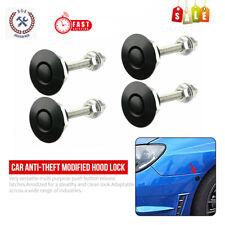 4x Push Button Quick Release Car Hood Bonnet Latch Pin Lock Bumper Clip Black