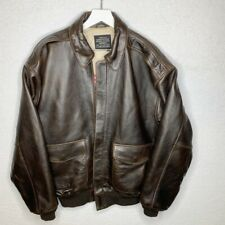 AVIREX Mens Leather Bomber Jacket Brown Star Stripes Forever Airforce Jacket  L