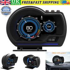 OBD2+GPS Smart Car Head Up Display HUD Gauge Water&Oil Temp Speedometer Alarm UK