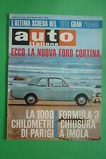 AUTO ITALIANA 43 1966 FORD CORTINA 1000 KM PARIGI F3 IMOLA TROFEO D'AUTUNNO ROMA