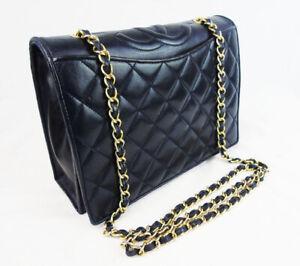 Authentic CHANEL Lambskin Crossbody Full Flap Bag Classic Vintage