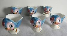 SIX LEFTON BLUE BIRD BLUEBIRD #286 EGG CUPS