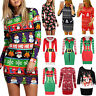Womens Christmas Long Sleeve Sweater Jumper Mini Dress Xmas Party Pullover Tops