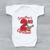 Personalised My Second 2nd Christmas Xmas Polka Dot Reindeer Baby Grow Bodysuit