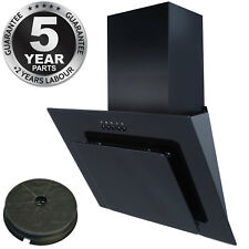 SIA AGL61BL 60cm Black Angled Glass Cooker Hood Extractor Fan + Carbon Filter