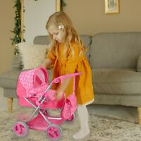 Pink Kids Deluxe Metal Dolls Pram Stroller Toy with Fold-up Hood for Ages 3+