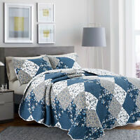 Blue Quilted Patchwork Bedspread Bed Throw Single Double King Size Bedding Sets