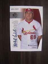 Michael Crudale 2002 SP Authentic  Auto Rookie Card # 140. St Louis  Cardinals