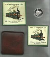2004 FIVE DOLLAR *150 YEARS OF STEAM RAILWAYS* ONE OUNCE PURE SILVER PROOF COIN