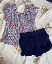 Toddler Girl Outfit Set 3T Floral Cute Shirt W/blue Shorts.