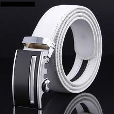 """Leather Belts For Men Click Belt Buckles Men's White Belt 48"""" Ratchet Buckle 3.5"""