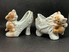 Vintage Pair Of Kitten And Show Mischievous Kitten Figurines. Made In Japan