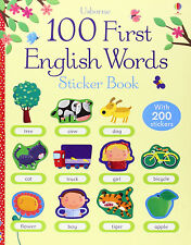 First 100 English Words Sticker Book by Felicity Brooks (Paperback) NEW