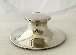 LARGE ANTIQUE STERLING SILVER CAPSTON INKWELL BY ASPREY LONDON, HALLMARKED 1900