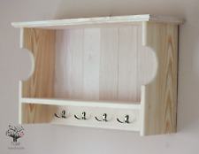 s87a Timber Shelf | Solid Pine Shelf  | Wall Hanging Cabinet with 5 Hooks |
