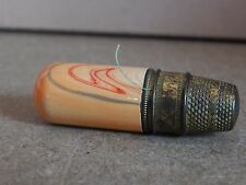 Art Deco Thimble and miniature cotton reel case 5cm