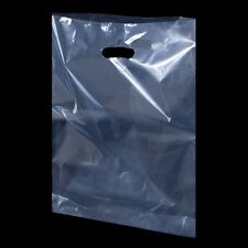 More details for plastic polythene shopping carrier bags patch handle clear, security 10
