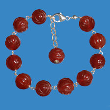 10mm GENUINE ROSE CARVED CARNELIAN BEAD / BALL 925 STERLING SILVER BRACELET