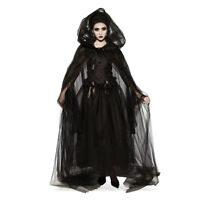 """45/"""" White Hooded Cape White Witch Gothic Priestess Cosplay Adult One Size"""