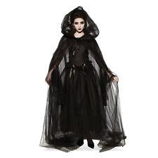 Women's Black Hooded Mesh Long Costume Cape Halloween Witch Vampiress Gothic