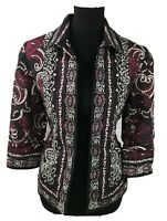 Coldwater Creek Jacket Blazer Floral Damask Boho Black Colorful Sz 10 Medium