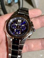 New Seiko SPC061 Coutura Chronograph Marine Blue Dial Stainless Steel Bracelet
