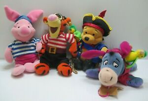 Set Of 4 Plush Beanie Winnie The Pooh Beanbag Plush Tigger Piglet Eeyore Disney