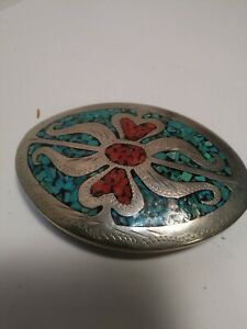 Native American Style Silver Tone Belt Buckle W/ Turquoise and Coral M