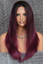 Long Straight Human Hair Blend Mono Top Lace Front Wig Burgundy mix WBDL