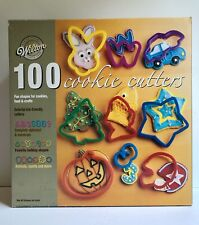 Vtg Box WILTON 100 COOKIE CUTTERS Plastic Alphabet-Numbers-Holidays-Sport-Animal