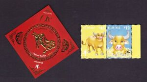 Philippines 2021 China New Year of OX Zodiac Animal 2v + S/S GOLD FOIL mint NH