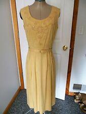 Vtg 50's 2 Pc Well-Made Gold Linen Sleeveless Rhinestone Dress & Swing Coat S/M