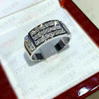 Men's Real 10K White Gold 2.00 Ct Round Cut Diamond Engagement Wedding Band