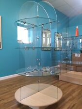 Retail Store Display Glass Shelving 2 12 Foot Round Three Tier Shelf