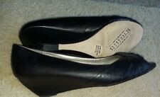 "SEYCHELLES BLACK LEATHER   2""  Wedge Pumps OPEN TOE WOMEN SHOES 8,5 M free ship"