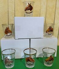 VINTAGE GRAND NATIONAL WINNERS SHOT GLASSES SET OF 6 WITH FAMOUS HORSES