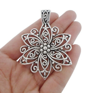 2Pcs Antique Silver Large Filigree Flower Charms Pendants for Necklace Making