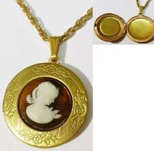 Bijou Vintage pendentif porte photo rétro gravé camée rond buste femme * 5169